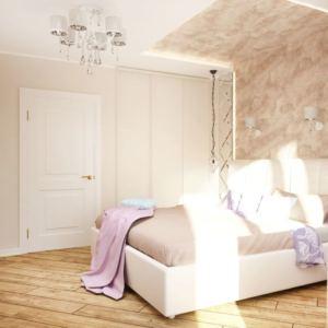 Интерьер спальни 11 кв.м в древесных тонах, настенные светильники, белый шкаф, кровать, бежевая пвх плитка