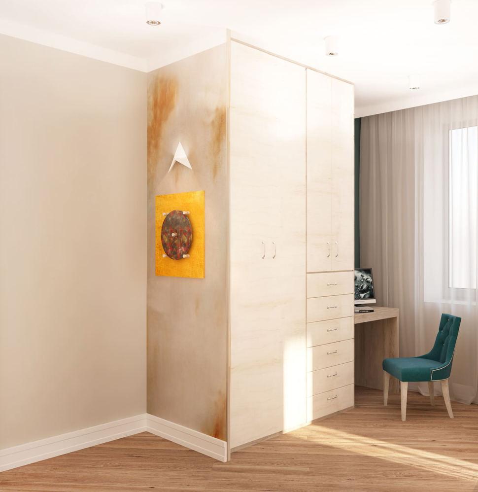 Визуализация спальни 22 кв.м в бежевых тонах с синими акцентами, бирюзовый стул, шкаф, рабочий стол, кровать, светильники