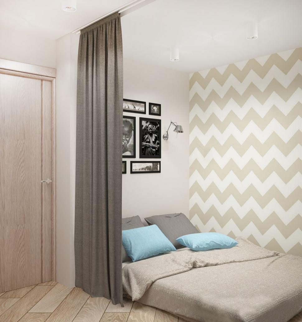 Проект спальни 5 кв.м в серых тонах, элементы декора, кровать, светильники, паркет
