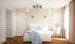 Дизайн-проект спальни 12 кв.м в белых тонах, туалетный столик, кровать, белый шкаф, зеркало