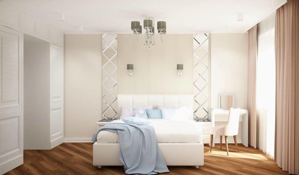 Визуализация спальни 12 кв.м в белых и бежевых тонах, кровать, зеркало, белый туалетный столик, стул, люстра, шкаф, бежевые портьеры
