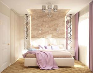 Визуализация спальни 11 кв.м в древесных тонах, кровать, зеркало, люстра, белые прикроватные тумбы