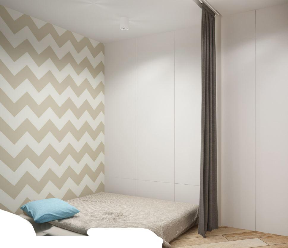 Дизайн-проект спальни 5 кв.м в серых тонах, декоративные обои, светильники. белый шкаф, паркет