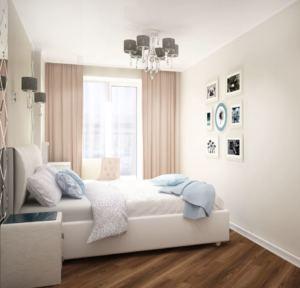 Проект спальни 12 кв.м в белых тонах, розовые портьеры, кровать, прикроватная тумба, люстра