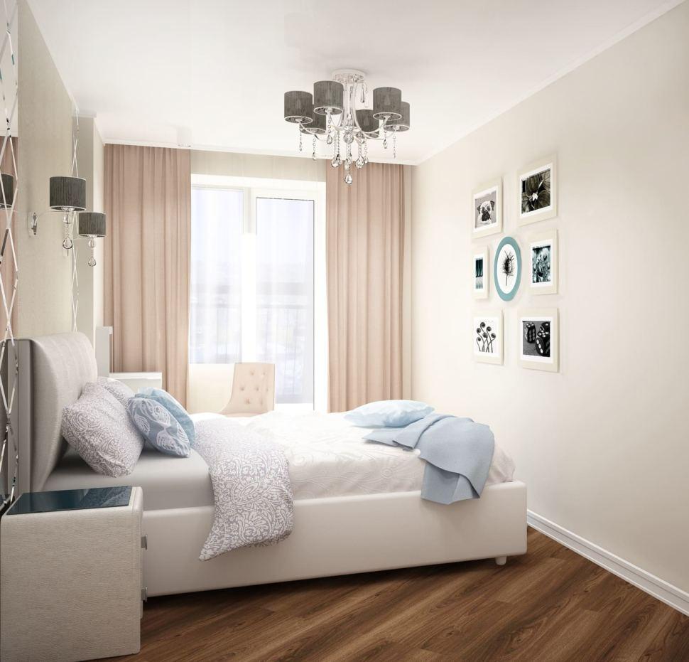 Дизайн-проект спальни 12 кв.м в молочных и бежевых тонах, белая кровать, белые прикроватные тумбочки, люстра, зеркало, бежевые портьеры