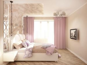 Проект спальни 11 кв.м в лавандовых тонах, лавандовые портьеры, кровать, телевизор