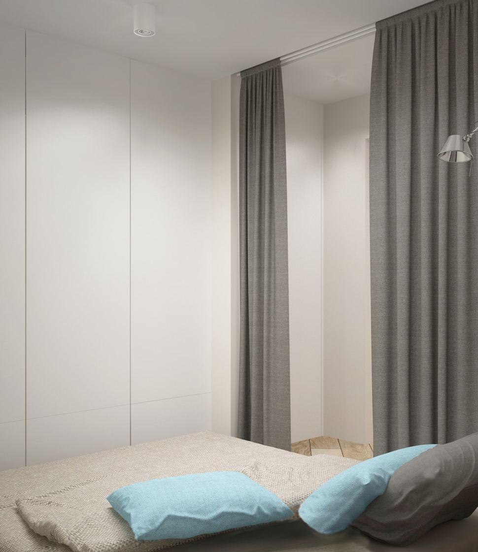 Проект спальни 5 кв.м в серых тонах, белый шкаф, серая кровать, ширма, накладные светильники