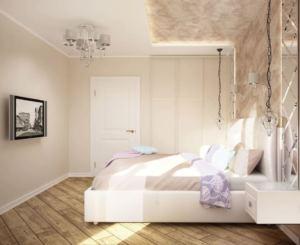 Визуализация спальни 11 кв.м в лавандовых тонах, прикроватная тумба, зеркало, кровать, телевизор