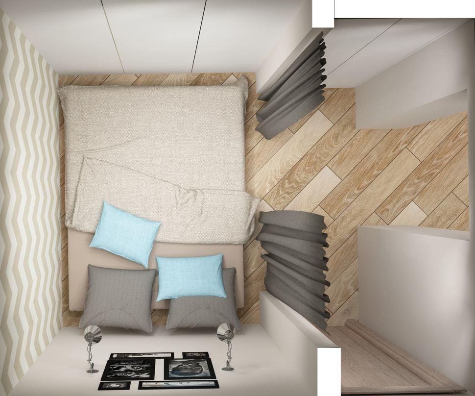 Интерьер спальни 5 кв.м в серых тонах, кровать, серая ширма, белый шкаф, настенные светильники