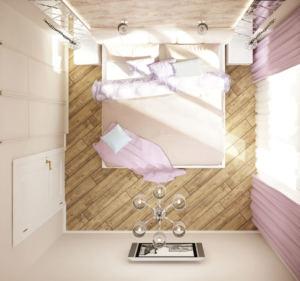 Дизайн-проект спальни 11 кв.м в белых и бежевых тонах, кровать, тумбы, кровать, телевизор, шкаф
