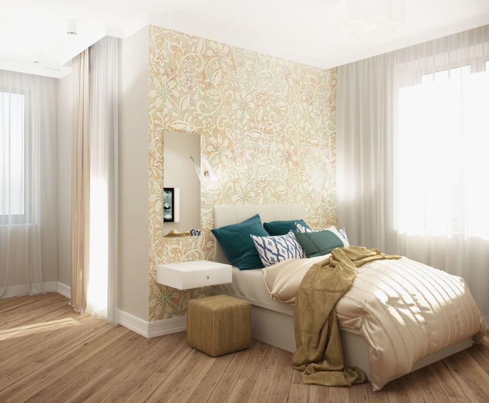 Проект спальни 22 кв.м в бежевых тонах с синими акцентами, белая кровать, фреска, прикроватная тумба, потолочные светильники