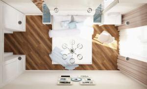 Визуализация спальни 12 кв.м в светлых тонах, кровать, туалетный столик, прикроватная тумба, шкаф
