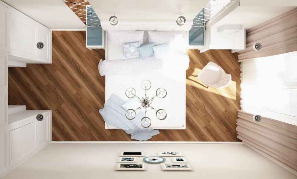 Визуализация спальни 12 кв.м в молочных и бежевых тонах, люстра, кровать, портьеры, стул, туалетный столик, зеркало