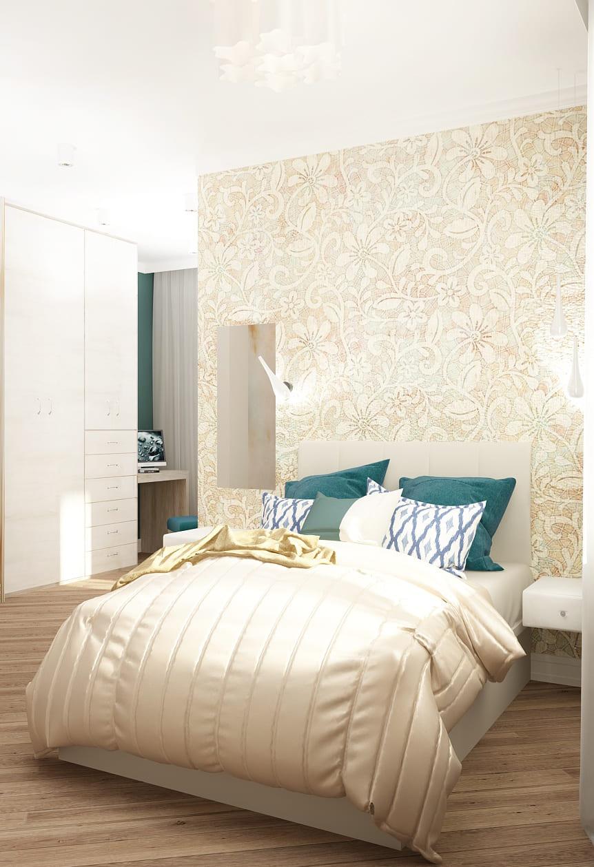 Интерьер спальни 22 кв.м в бежевых тонах с синими акцентами, туалетный столик, кровать, декоративная штукатурка, бирюзовая банкетка