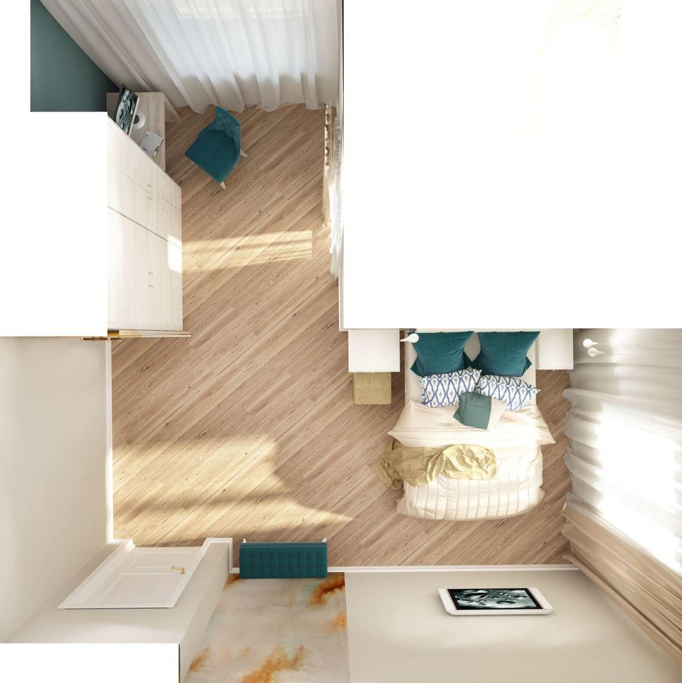Визуализация спальни 22 кв.м в бежевых тонах с синими акцентами, штукатурка, туалетный столик, кровать, подвесной светильник