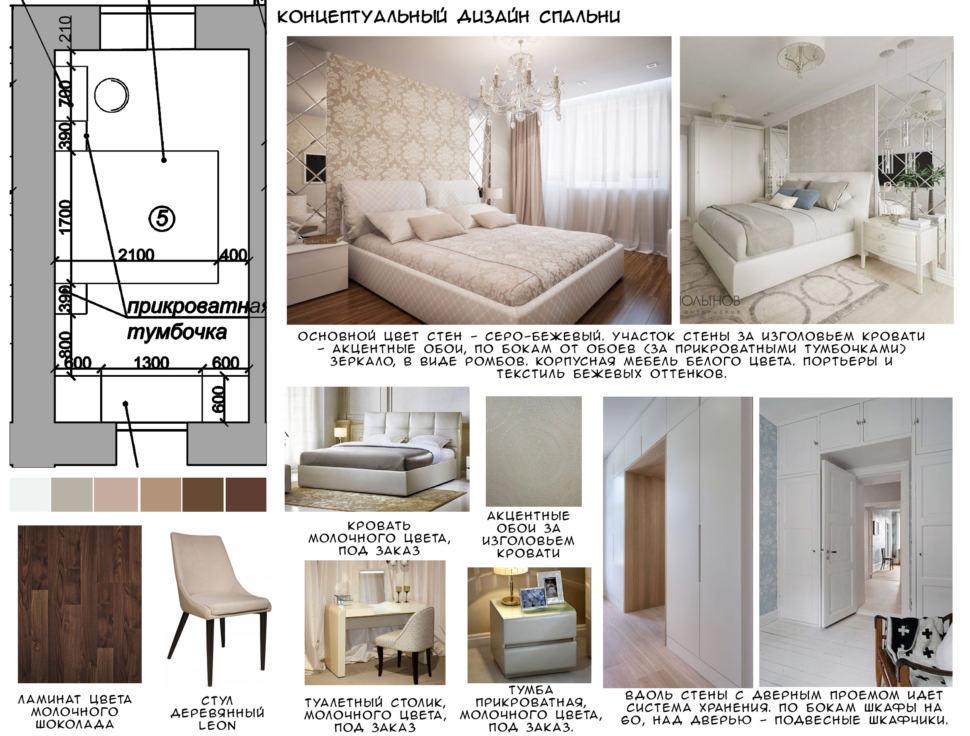 Концептуальный дизайн спальни 12 кв.м, стул, ламинат, белый туалетный столик, кровать, тумба, подвесные шкафчики
