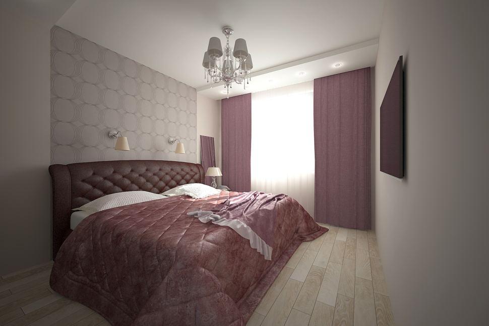 Интерьер спальни 16 кв.м в светлых тонах с фиолетовыми оттенками, кровать, фиолетовые портьеры, люстр, паркет