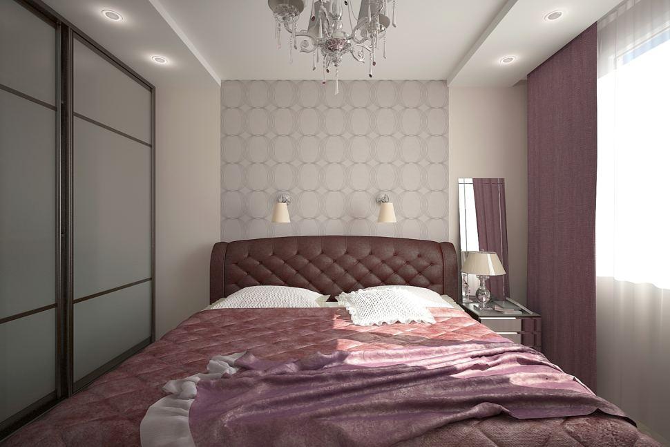 Проект спальни 16 кв.м в светлых тонах с фиолетовыми оттенками, шкаф, бордовая кровать, обои, зеркало, прикроватная тумбочка