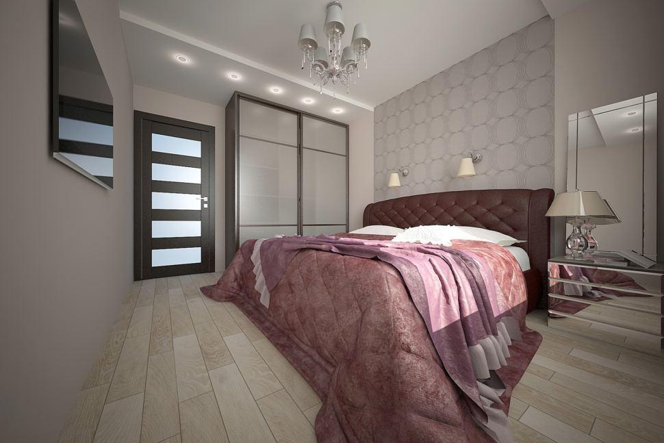 Визуализация спальни 16 кв.м в светлых тонах с фиолетовыми оттенками, шкаф, кровать, телевизор, зеркало, зеркальная тумба