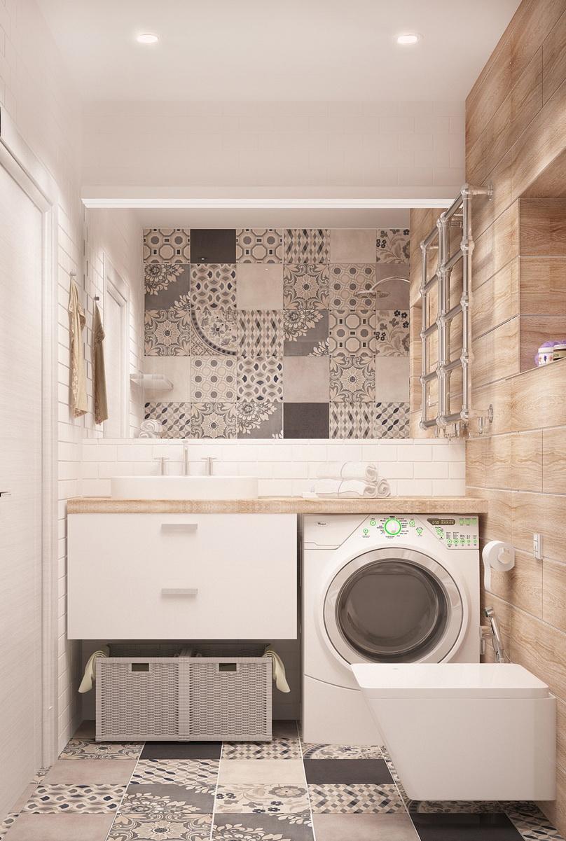 Дизайн-проект ванной комнаты 4 кв.м в теплых оттенках, белая подвесная тумба, полки, зеркало, плитка, керамическая плитка