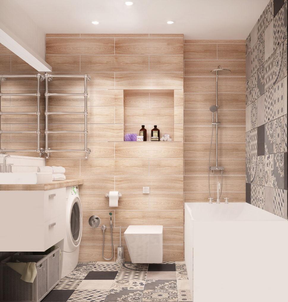 Проект ванной комнаты 4 кв.м в теплых оттенках, керамическая плитка под дерево, орнамент, мойка, ванна, полочки-ниши