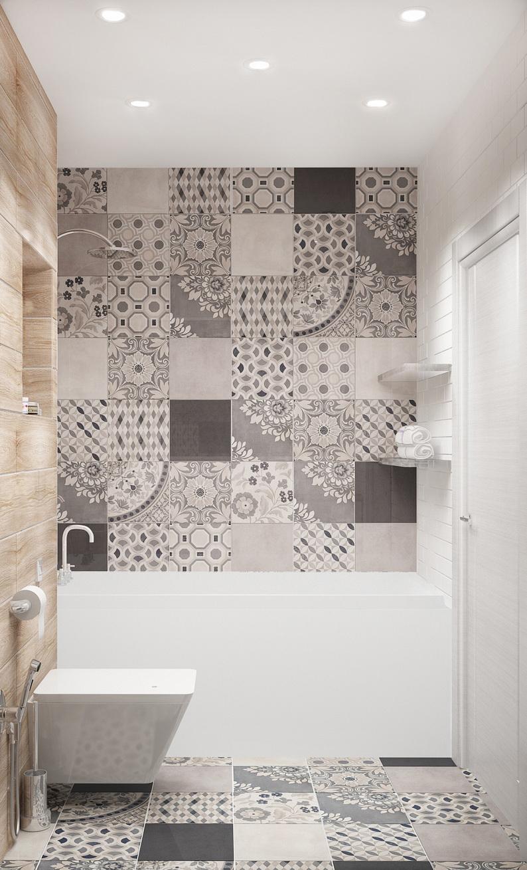 Дизайн ванной комнаты 4 кв.м в теплых оттенках, белый унитаз, подвесные полки, ванна, светильник, керамическая плитка под дерево
