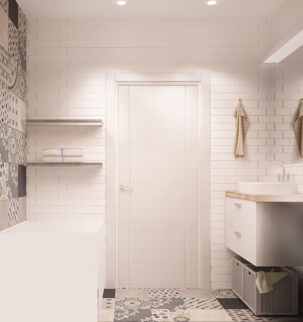 Проект ванной комнаты 4 кв.м в теплых оттенках, орнамент, мойка, ванна, керамическая плитка под дерево, полочки-ниши