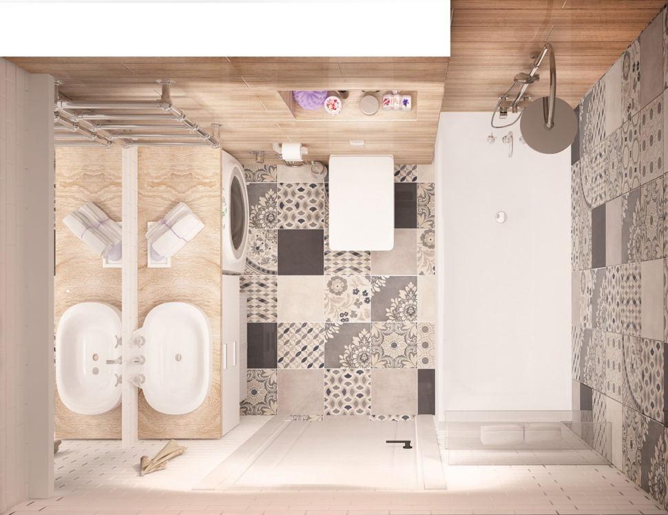 Интерьер ванной комнаты 4 кв.м в теплых оттенках, плитка под дерево, плитка с орнаментом, раковина, зеркало, тумба, стиральная машина