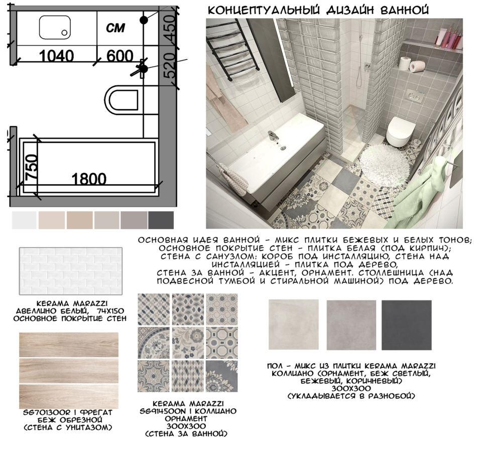 Концептуальный коллаж ванной комнаты 4 кв. м в бежевых и серых оттенках, керамическая плитка под дерево, плитка с орнаментом