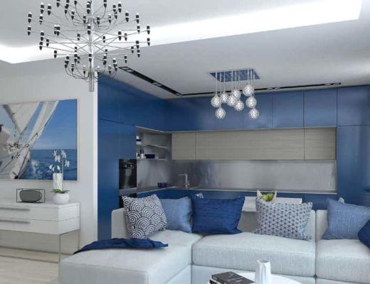 Фото 44 - Голубые акцентные оттенки могут также повторятся и в декоре [4]
