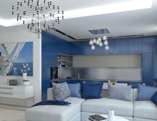 Фото 86 - Красивая гостиная в синих тонах поддчеркивает все достоинства средиземноморского стиля [4]