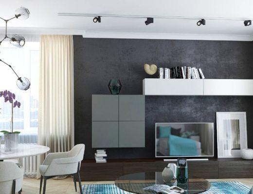 Фото 50 - Черные стены в комнате позволяют не только подчеркнуть стиль интерьера, но и визуально увеличить комнату [4]