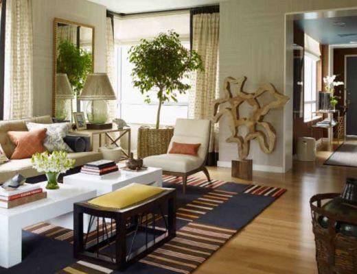 Фото 71  - Необычный декор гостиной гармонично сочетается не только с общим цветовым решением, но и с другими элементами интерьера [29]