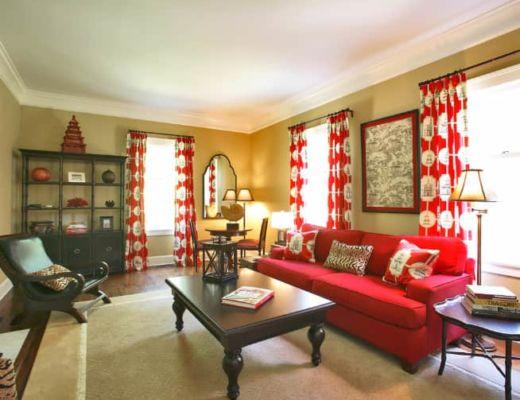 Фото 66 - Интересная гостиная с красными акцентами, придающие интерьеру уникальный стиль [25]
