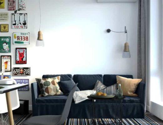 Фото 30 - Интересное интерьерное решение гостиной в сочетании с темным диваном[4]