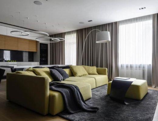 Фото 1 - Необычный интерьер гостиной с контрастом основных акцентных цветов [1]