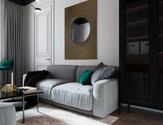 Фото 59 - Яркие зеленные акценты на сером диване могут придавать уникальный стиль интерьеру [2]