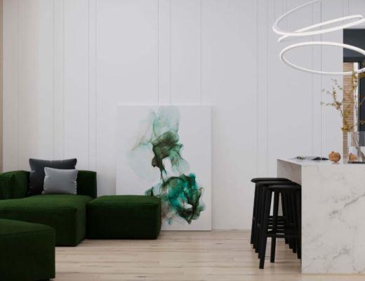 Фото 42 - Красивая дизайнерская картина легко заполняет пространство, не перегружая его [2]