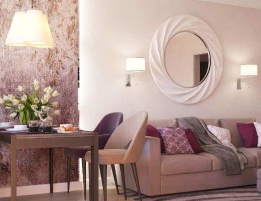 Фото 11 - Красивый дизайн гостиной с применением розовых акцентов [4]