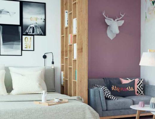 Фото 24 - Розовая акцентная стена подчеркивает общее цветовое решение комнаты[4]