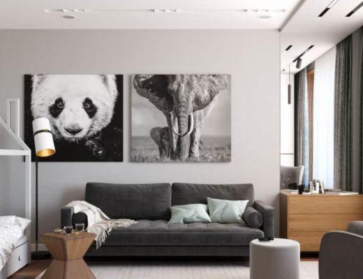Фото 45 - Интересное решение декора в виде фотографией животных придаст комнате дополнительный уют и подчеркнет стиль [4]