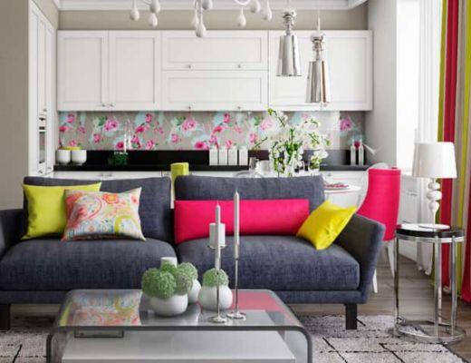 Фото 80 - Стильный серый диван, в сочетании с яркими акцентами, не утяжеляет интерьером цветом [4]