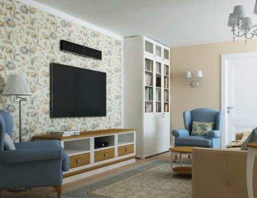 Фото 15 - Лучшее решение гостиной в классическом стиле с использованием узорчатых дизайнерских обоев [4]