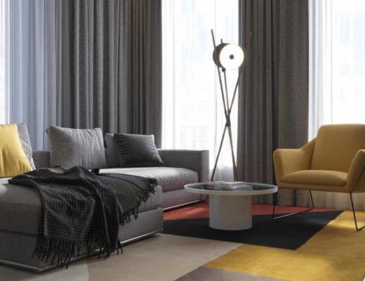 Фото 2 - Модный интерьер за счет применения дизайнерского ковра и желтого кресла [2]